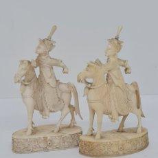 Arte: EXCEPCIONAL PAREJA DE JINETES A CABALLO ORIENTALES,CANTON,(CHINA),S.XIX. Lote 266270198