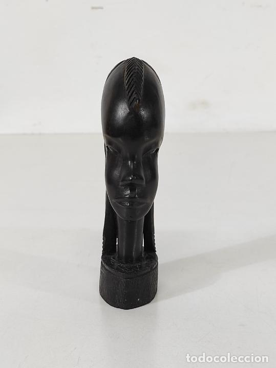 Arte: Cabeza, Busto - Talla Africana - Madera de Ébano - Foto 2 - 266648643