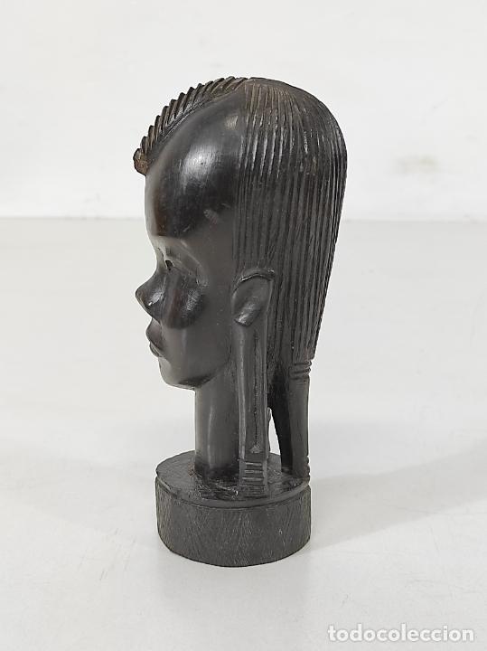 Arte: Cabeza, Busto - Talla Africana - Madera de Ébano - Foto 8 - 266648643