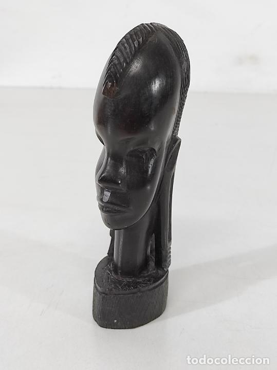 Arte: Cabeza, Busto - Talla Africana - Madera de Ébano - Foto 10 - 266648643