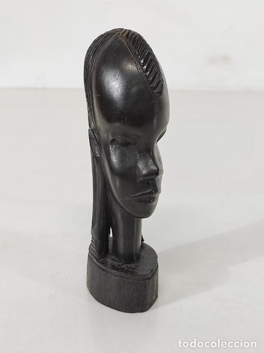 CABEZA, BUSTO - TALLA AFRICANA - MADERA DE ÉBANO (Arte - Étnico - África)