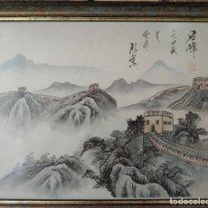 Arte: PINTURA CHINA EN SEDA, MUY ANTIGUA, PINTADO A MANO. Lote 267260544