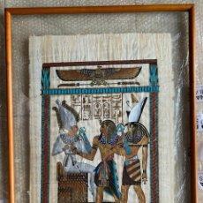 Arte: ORIGINAL PAPIRO EGIPCIO ENMARCADO MADERA Y DOBLE CRISTAL 79 X 56. FIRMADO. VER FOTOS.. Lote 267367374