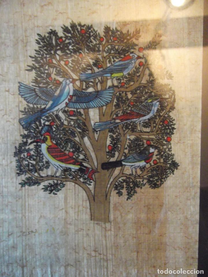 "Arte: Papiro con cristal "" aves en árbol "" 24 x 18 cm - Foto 3 - 267508149"