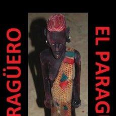 Arte: ANTIGUA Y AUTENTICA FIGURA AFRICANA TALLADA EN MADERA ES DE PRINCIPIO DEL SIGLO XX. Lote 267771129