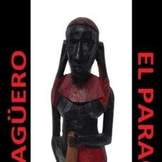 Arte: ANTIGUA FIGURA AUTENTICA AFRICANA TALLADA EN MADERA ES DE PRINCIPIO DEL SIGLO XX. Lote 267798054