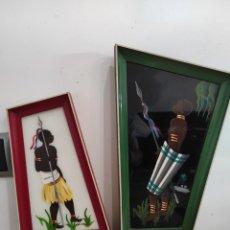 Arte: PAREJA DE CUADROS MOTIVOS AFRICANOS DE LOS AÑOS 60 VINTAGE. PINTADOS A MANO. Lote 268738794