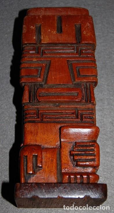 FIGURA TOTEM AZTECA DE MADERA (Arte - Étnico - América)