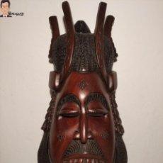 Arte: ANTIGUA MÁSCARA AFRICANA DE HOMBRE TALLADA A MANO EN MADERA DE ÉBANO (47 X 22 CM) GRAN TAMAÑO. Lote 269105958