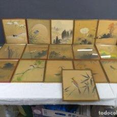 Arte: LOTE 16 CUADROS ORIENTALES PAPEL DE ARROZ. Lote 269258288