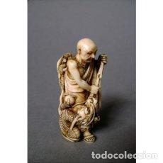 Arte: NETSUKE EN MARFIL. RAKAN MATANDO A UN DRAGÓN. JAPÓN PERÍODO MEIJI (1868-1912).. Lote 269484913