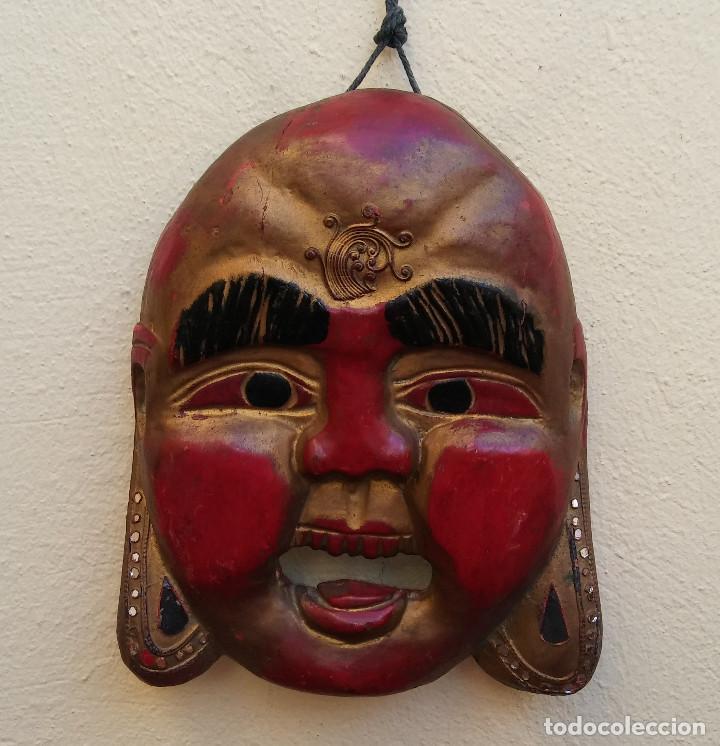 MÁSCARA BUDA TALLADA EN MADERA, COLOR ORIGINAL MIDE 25 X 20 CM (Arte - Étnico - Asia)