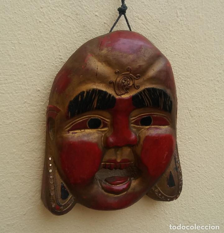 Arte: MÁSCARA BUDA TALLADA EN MADERA, COLOR ORIGINAL MIDE 25 X 20 CM - Foto 3 - 269763478