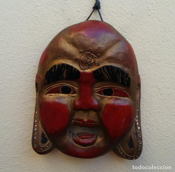 Arte: MÁSCARA BUDA TALLADA EN MADERA, COLOR ORIGINAL MIDE 25 X 20 CM - Foto 5 - 269763478