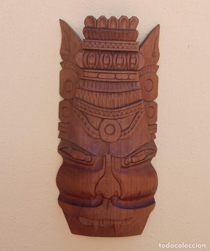 GRAN TALLA DE MADERA MÁSCARA DRAGÓN PERRO FOO, ARTE ORIENTAL,40 X 19 CM (Arte - Étnico - Asia)
