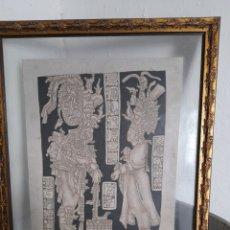 Arte: PIROGRABADO MAYA SOBRE PIEL ,ENMARCADO EN MARCO DE GRAN CALIDAD. Lote 272584038
