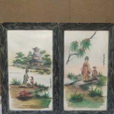 Arte: DOS CUADROS JAPONESES ORIGINALES ANTIGUOS Y FIRMADOS. Lote 275220903