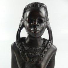 Arte: PRESIOSA FIGURA TALLA DE MADERA MUJER AFRICANA ARTE ETNICO EXCELENTE DECORACIÓN. Lote 275514678