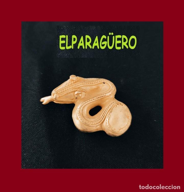 FIGURA DE ORO TUMBAGA PESO 16 GRAMOS ES UNA SERPIENTE PRECOLOMBINA QUIMBAYA (Arte - Étnico - América)