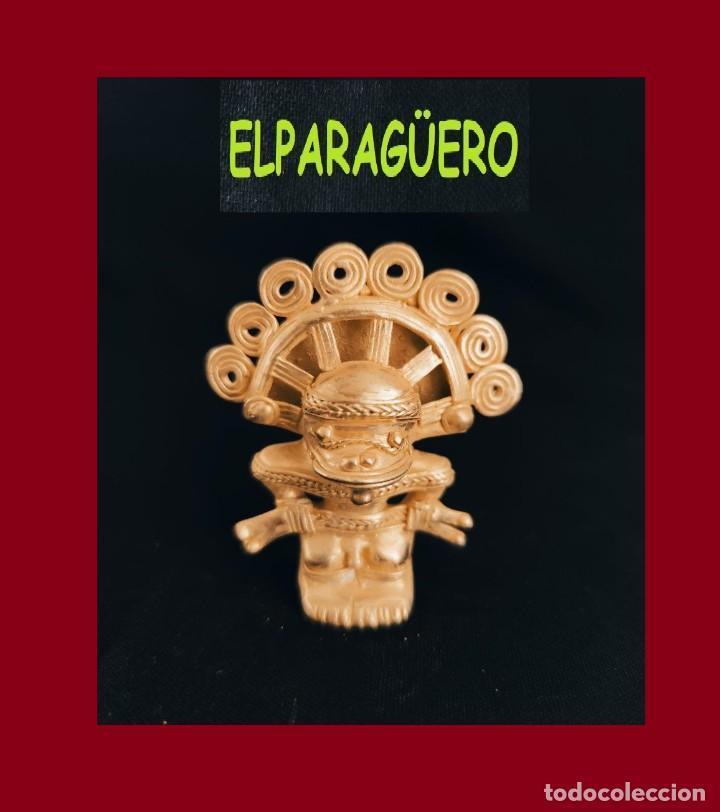 FIGURA DE ORO TUMBAGA PESO 36 GRAMOS ES UN CHAMAN ANTROPOMORFO PRECOLOMBINO QUIMBAYA (Arte - Étnico - América)