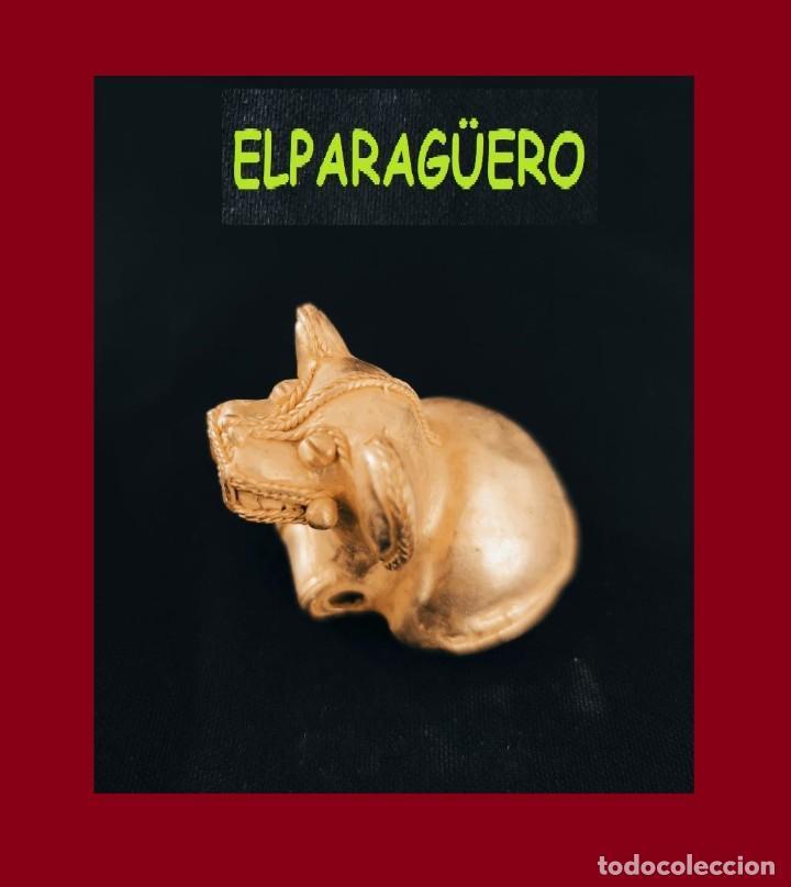 FIGURA SONAJERO DE ORO TUMBAGA PESO 32 GRAMOS ES UN FELINO ANTROPOMORFO PRECOLOMBINO QUIMBAYA (Arte - Étnico - América)