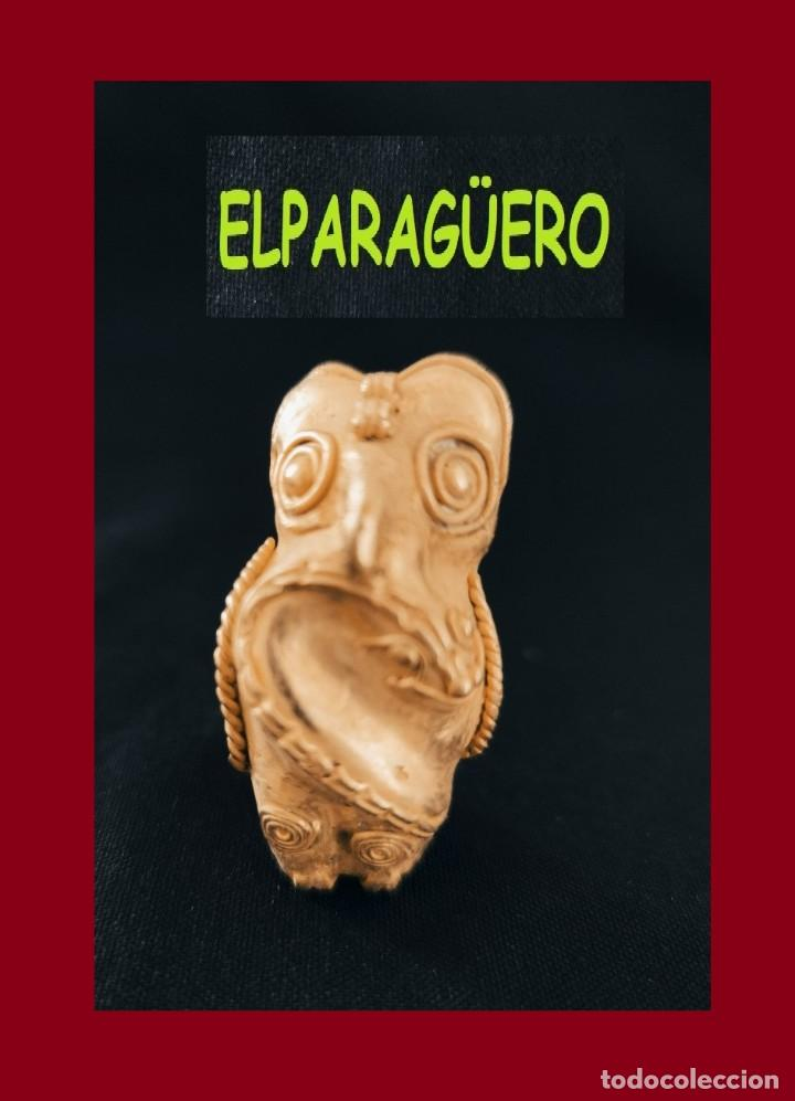 FIGURA DE ORO TUMBAGA PESO 40 GRAMOS ES UN BUHO CAZANDO CULEBRA ANTROPOMORFO PRECOLOMBINO QUIMBAYA (Arte - Étnico - América)