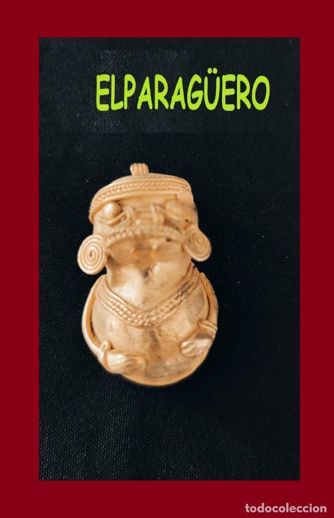 FIGURA COLGANTE SONAJERO DE ORO TUMBAGA PESO 28 GRAMOS ES UN CHAMAN ZOOMORFICO PRECOLOMBINO QUIMBAYA (Arte - Étnico - América)