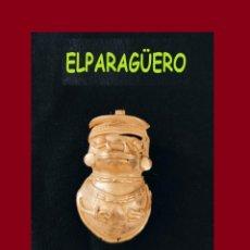 Arte: FIGURA COLGANTE SONAJERO DE ORO TUMBAGA PESO 26 GRAMOS ES UN CHAMAN ZOOMORFICO PRECOLOMBINO QUIMBAYA. Lote 276047648