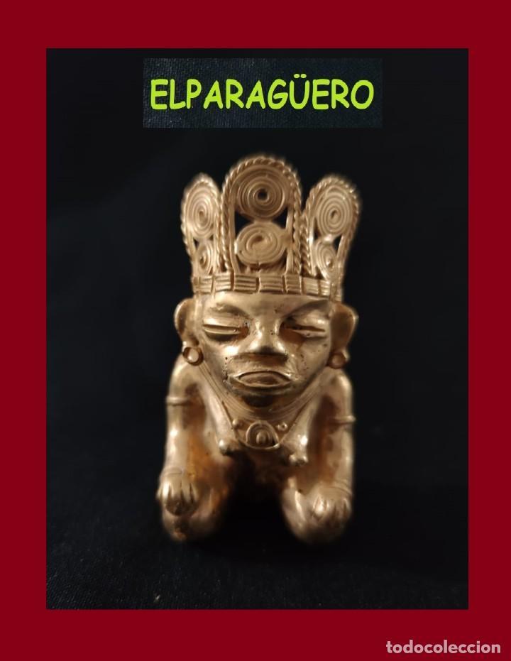 FIGURA DE ORO TUMBAGA PESO 80 GRAMOS ES UNA MUJER CHAMAN PRECOLOMBINA QUIMBAYA (Arte - Étnico - América)