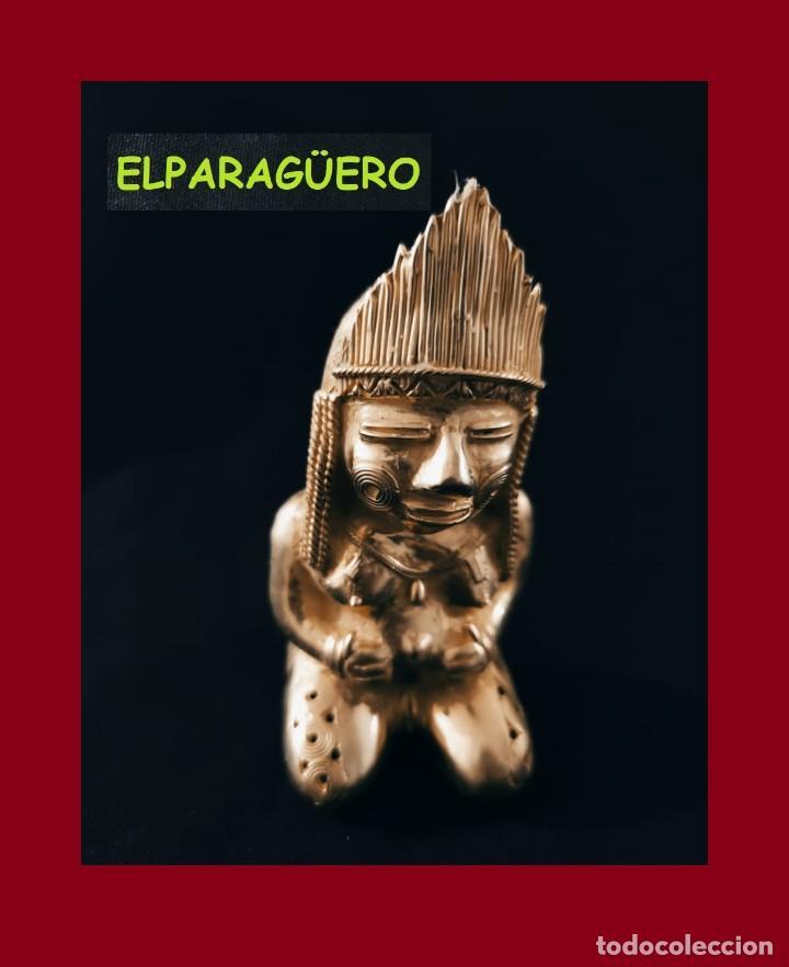 FIGURA DE ORO TUMBAGA PESO 220 GRAMOS ES UNA MUJER INDIA EMBRAZADA PRECOLOMBINA QUIMBAYA (Arte - Étnico - América)
