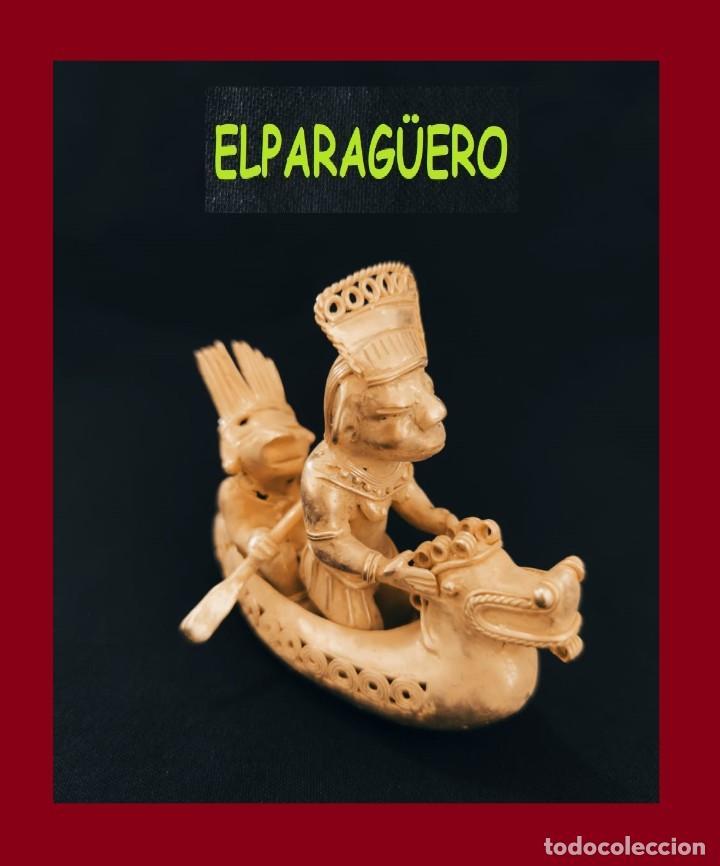 FIGURA DE ORO TUMBAGA PESO 172 GRAMOS SON 2 CHAMANES PASEANDO EN BARCA PRECOLOMBINO QUIMBAYA (Arte - Étnico - América)