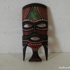 Arte: MÁSCARA TALLADA Y PINTADA A MANO EN MADERA, AFRICANA, UNOS 27 CMS. ALTO. Lote 276493638