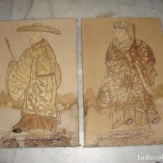 Art: ANTIGUA PAREJA DE CUADROS CON BORDADOS ORIENTALES.. Lote 276656088
