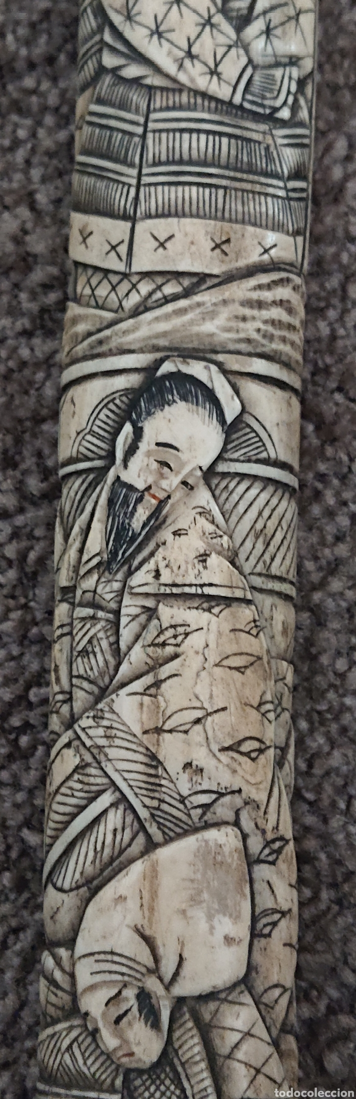 Arte: Funda sable o espada japonés, Japón, hueso o similar, gran pieza, ved fotos - Foto 3 - 276801593