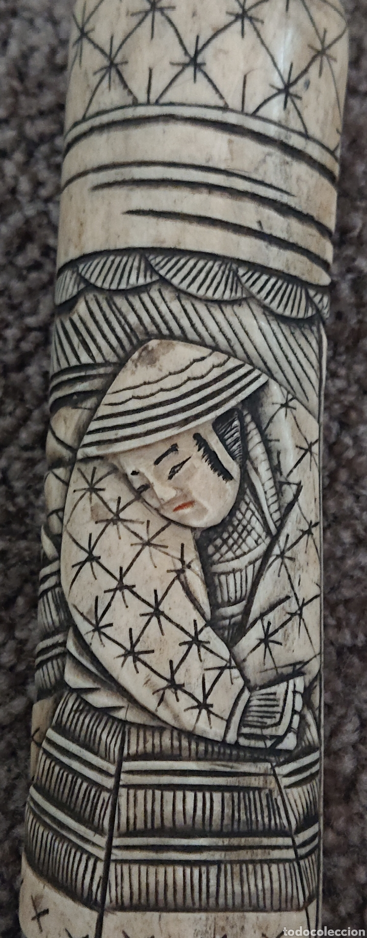 Arte: Funda sable o espada japonés, Japón, hueso o similar, gran pieza, ved fotos - Foto 4 - 276801593