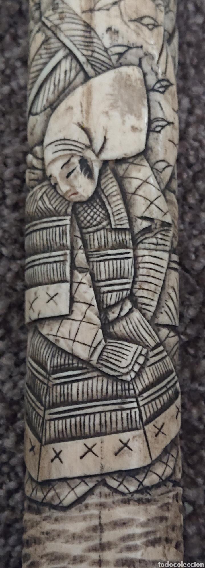 Arte: Funda sable o espada japonés, Japón, hueso o similar, gran pieza, ved fotos - Foto 5 - 276801593