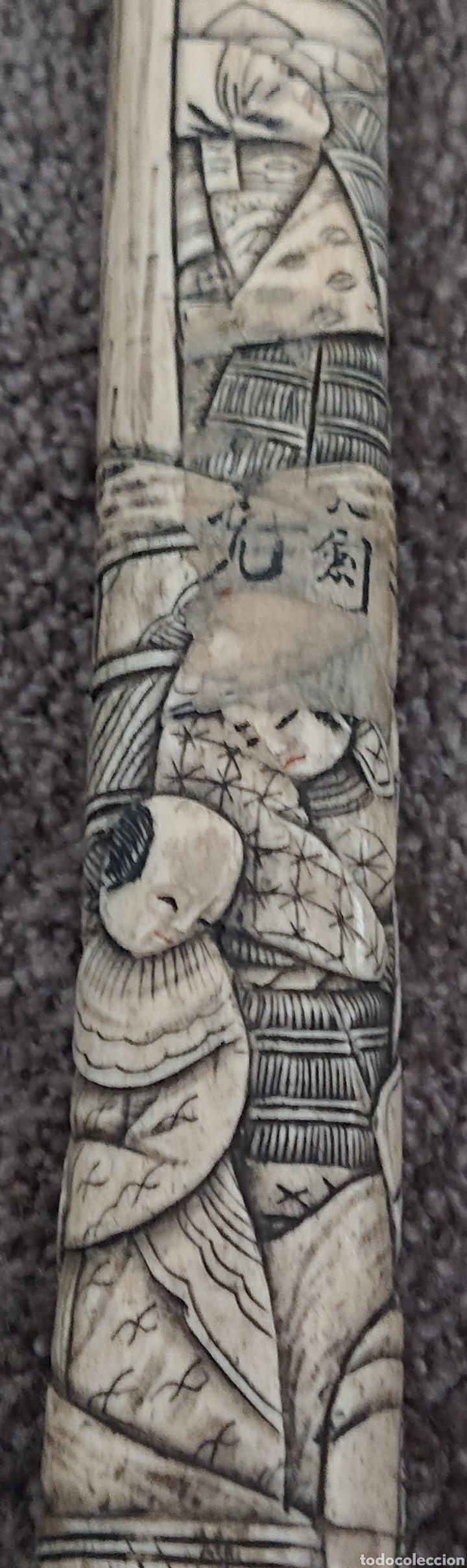Arte: Funda sable o espada japonés, Japón, hueso o similar, gran pieza, ved fotos - Foto 6 - 276801593