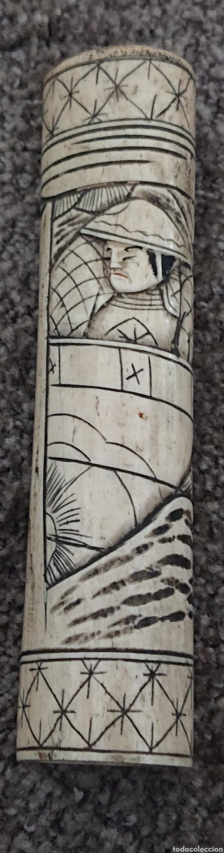 Arte: Funda sable o espada japonés, Japón, hueso o similar, gran pieza, ved fotos - Foto 7 - 276801593