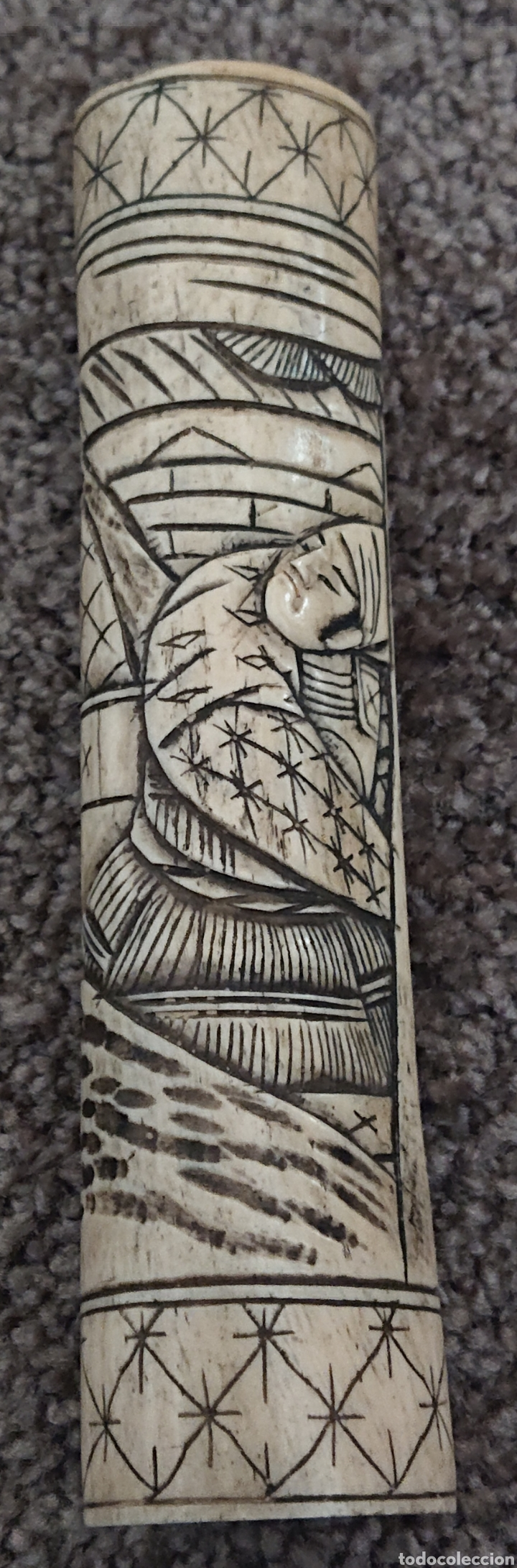 Arte: Funda sable o espada japonés, Japón, hueso o similar, gran pieza, ved fotos - Foto 8 - 276801593