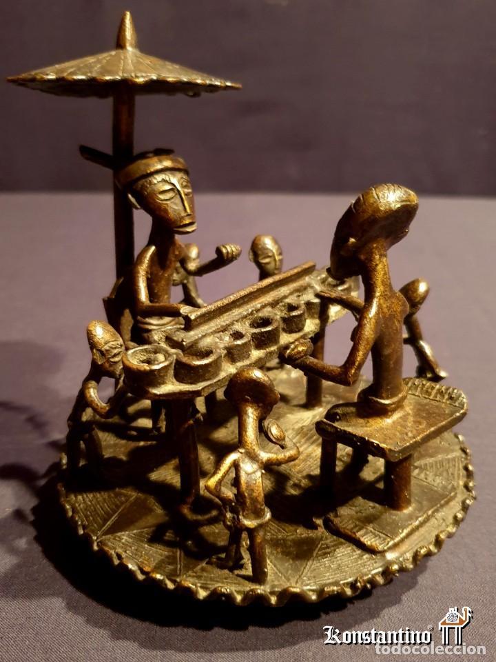 BRONCE DE LA ETNIA ASHANTI. PRECIOSA ESCENA FAMILIAR (Arte - Étnico - África)