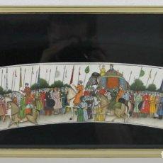 Arte: PINTURA INDIA SOBRE PLACA DE MARFIL CON GRAN DETALLE, RICA POLICROMÍA Y ENMARCADA. CORTEJO. Lote 277126663