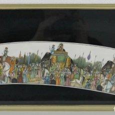 Arte: PINTURA INDIA SOBRE PLACA DE MARFIL CON GRAN DETALLE, RICA POLICROMÍA Y ENMARCADA. CORTEJO REAL. Lote 277126968