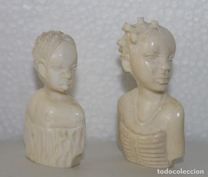Arte: Lote de 5 bustos de mujeres africanas talladas a mano. Principios del siglo XX - Foto 2 - 277495283