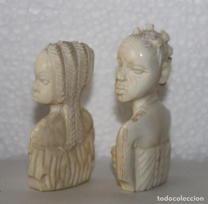 Arte: Lote de 5 bustos de mujeres africanas talladas a mano. Principios del siglo XX - Foto 3 - 277495283