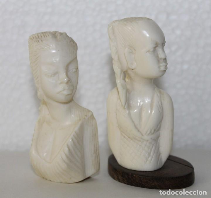 Arte: Lote de 5 bustos de mujeres africanas talladas a mano. Principios del siglo XX - Foto 4 - 277495283