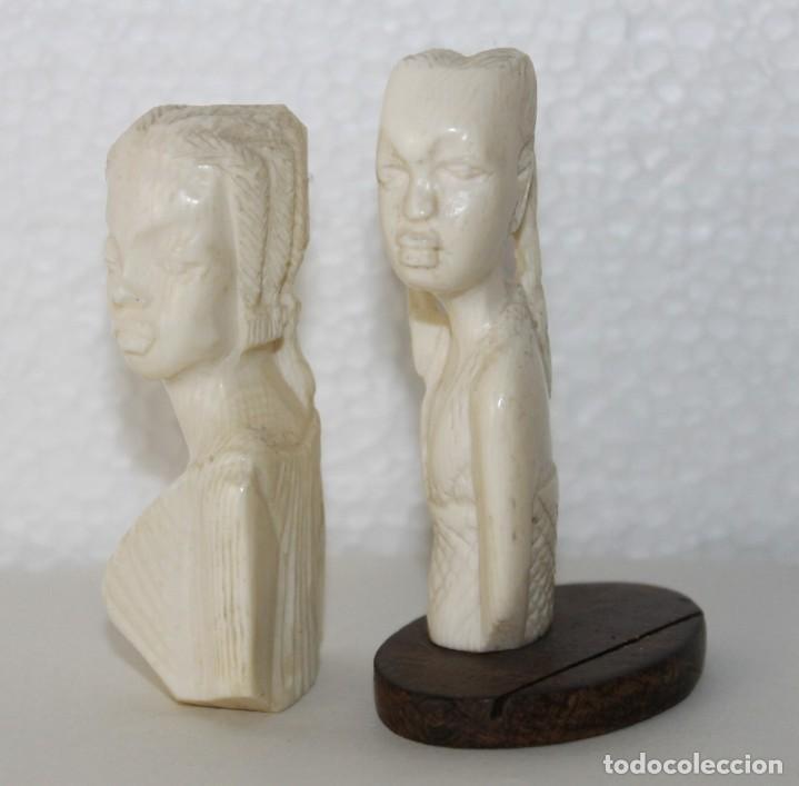 Arte: Lote de 5 bustos de mujeres africanas talladas a mano. Principios del siglo XX - Foto 5 - 277495283