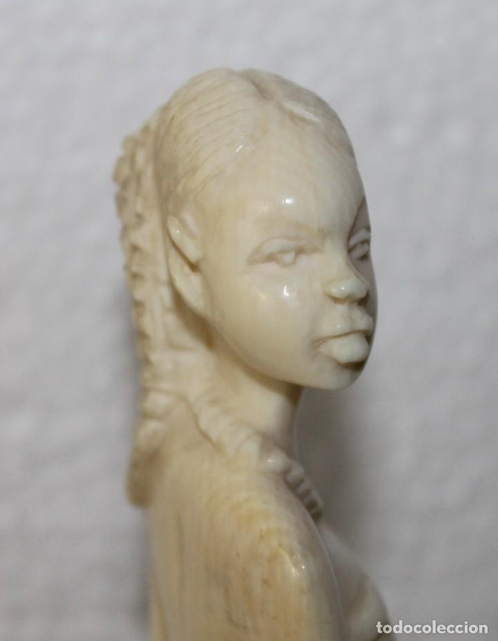 Arte: Lote de 5 bustos de mujeres africanas talladas a mano. Principios del siglo XX - Foto 9 - 277495283