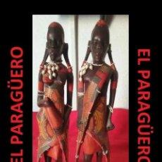 Arte: MUY ANTIGUAS Y AUTENTICAS FIGURAS AFRICANAS DE MADERA SON VINTAGE DE ALTA CALIDAD SIGLO XX. Lote 277672348