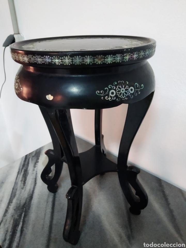 Arte: Antigua mesa china de Te ,lacada en negro y marquetería en nácar , - Foto 5 - 278621448