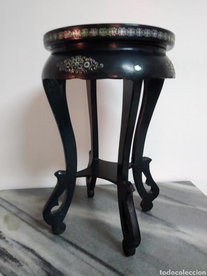 Arte: Antigua mesa china de Te ,lacada en negro y marquetería en nácar , - Foto 6 - 278621448